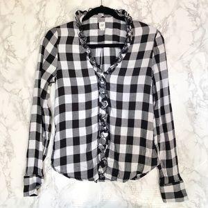 Gap Buffalo Black/White Plaid Ruffle Shirt Size XS